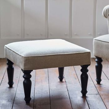 Clandon Linen Square Footstool