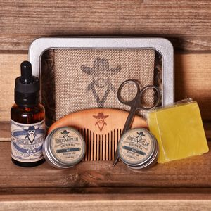 Mens Beard Grooming Kit In Metal Box