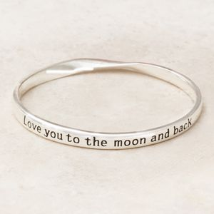 Love You To The Moon And Back Sentiment Bangle - summer sale