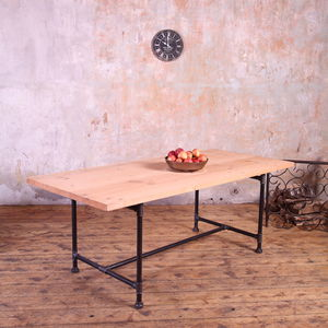 Metal Pipe Legs Industrial Style Dining Table - office & study