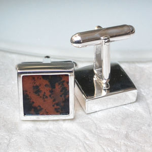 Mahogany Sterling Silver Cufflinks - mens