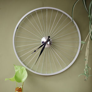 Bicycle Wheel Clock 57 Cm Black - gifts for him