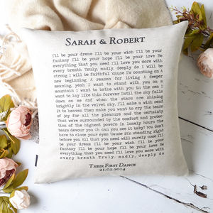 'First Dance' Song Cushion Cover - personalised cushions
