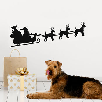 Personalised Christmas Dog Reindeer Sleigh Wall Sticker