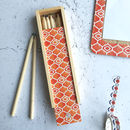 Alta Box Of Pencils, Orange Geometric Pencil Case