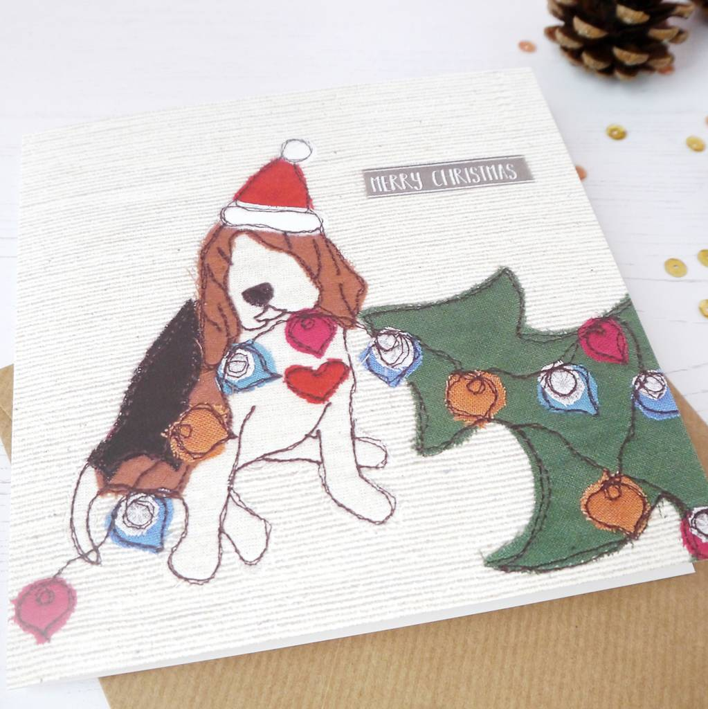 naughty dog christmas card beagle and basset design by ren and ...