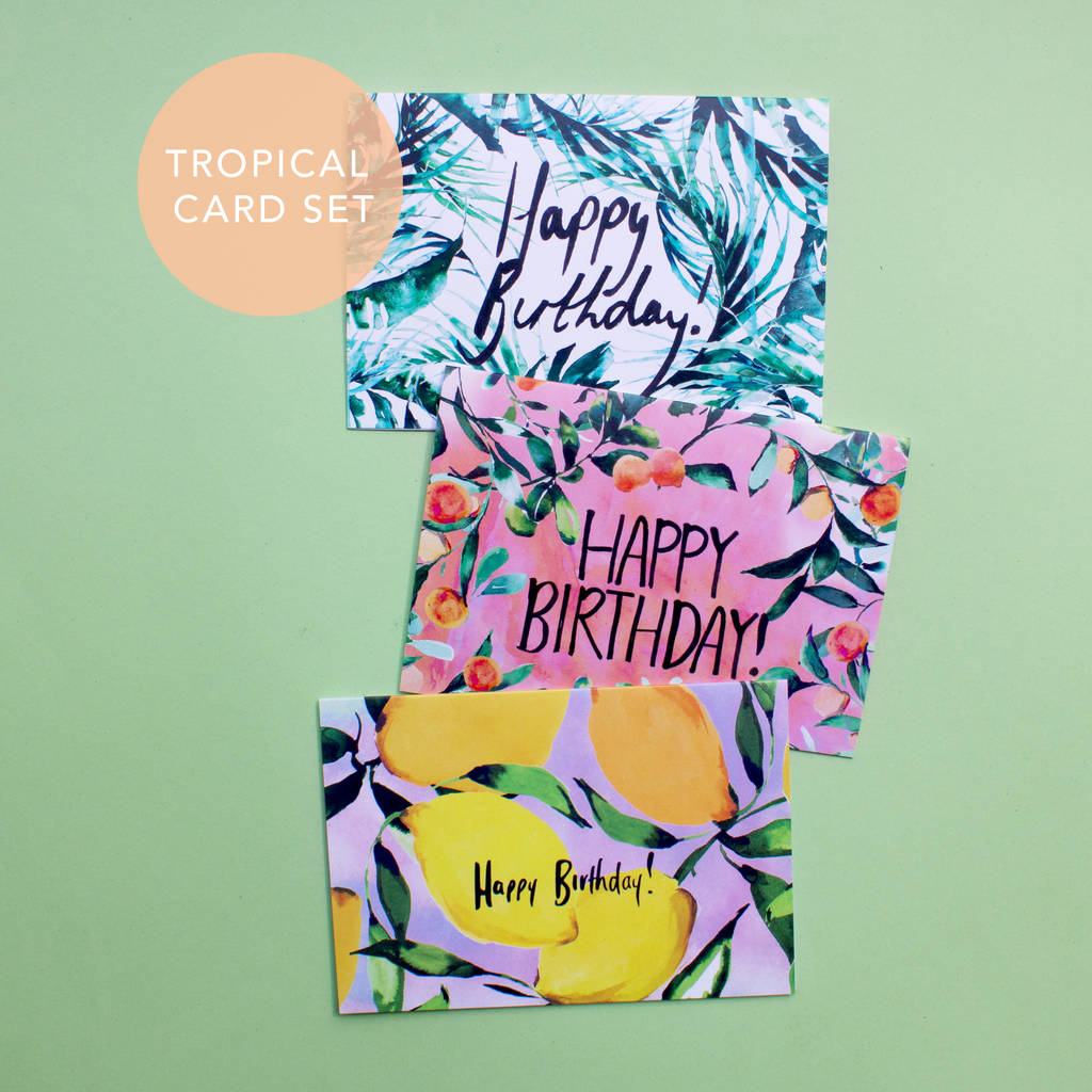 Tropical And Citrus Happy Birthday Card Set