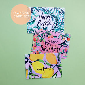 Tropical And Citrus 'Happy Birthday' Card Set