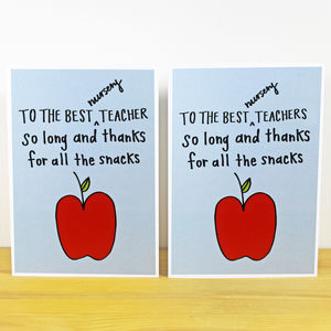 'So Long…' A6 Nursery Teacher/Teachers Card - thank you cards