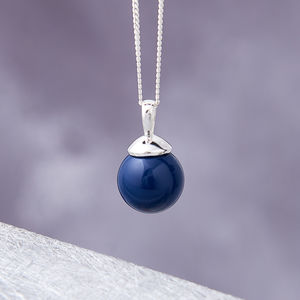Silver Ball Pendant In Turquoise, Lapis And Jade