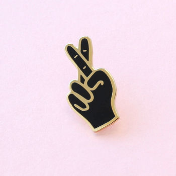Fingers Crossed Enamel Pin
