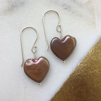 Fresh Water Pearl Heart Earrings - Chocolatey Plum