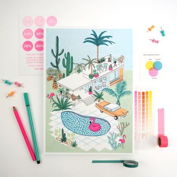 A4 Palm Springs Holiday Home Print