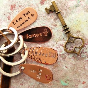 Personalised Copper Keyring 35 Design Stamps - keyrings