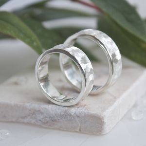 Handmade Textured Silver Rings, Textured Wedding Bands - wedding rings