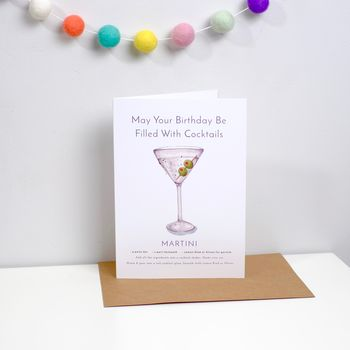 Cocktail Birthday Card Martini