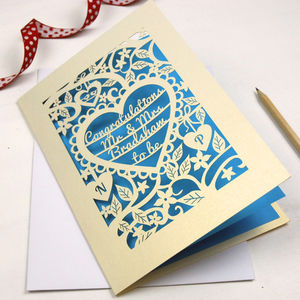 Personalised Papercut Heart Engagement Card - gifts for her