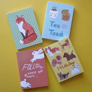 Set Of Four A5 Notebooks