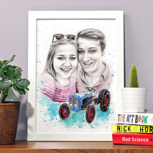 Couples Portrait Painting Illustration - canvas prints & art