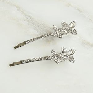 Pair Of Crystal Double Flower Hair Clips - children's accessories