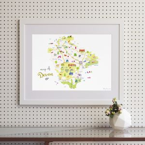 Map Of Devon - drawings & illustrations