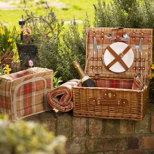 Suitcase Picnic Hamper | Grey Or Autumn Tartan