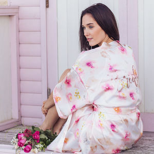 Luxury Floral Pink Watercolour Robe Dressing Gown