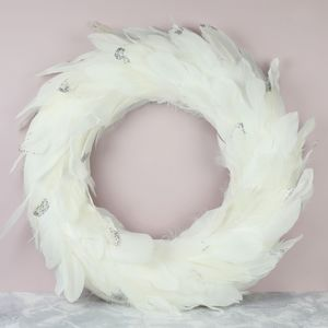 Sparkly Feather Wreath - christmas decorations