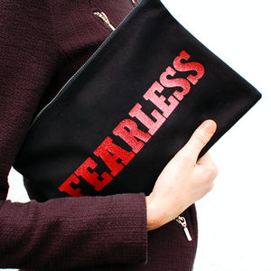 'Fearless' Canvas Clutch - womens
