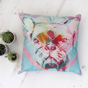 French Bulldog Chevron Cushion - cushions