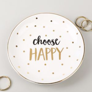 'Choose Happy' Ceramic Trinket Dish - storage