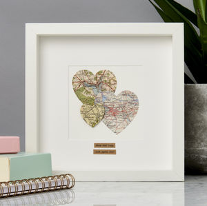 Personalised Multi Heart Map Picture - anniversary prints