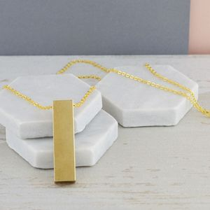 Chunky Gold Bar Long Drop Necklace - necklaces & pendants