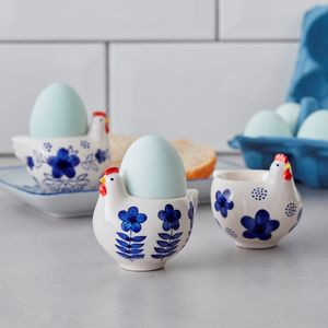 Blue And White Chicken Egg Cups - easter home