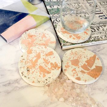 Concrete And Rose Gold Coaster Set