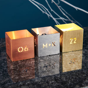 Personalised Metal Date Tea Light Holder - candles and candle holders