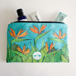 Bird Of Paradise Flower Lined Cotton Cosmetics Bag - children's accessories