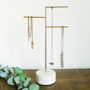 Brass And Marble Jewellery Stand