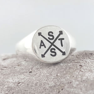 Family Initials Engraved Silver Signet Ring - for him
