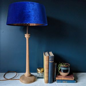 Cobalt Blue Oak Turned Lamp