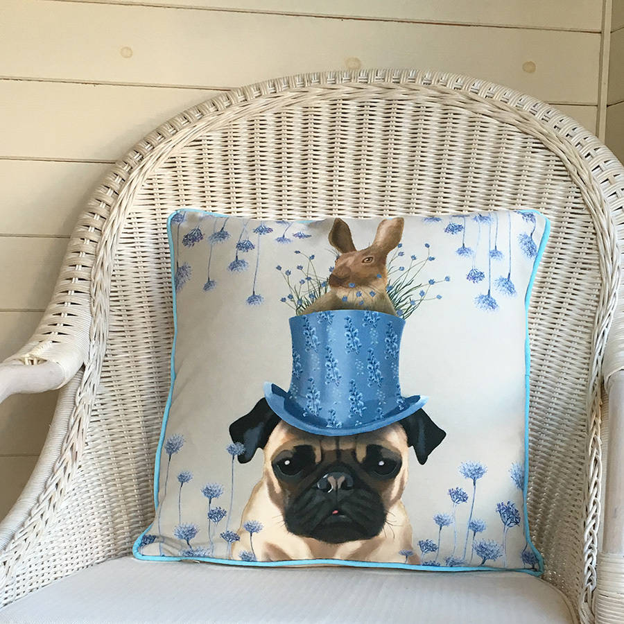 pug cushion the milliners dogs by fabfunky home decor