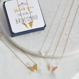 Delicate Butterfly Bridesmaid Necklace - bridesmaid gifts