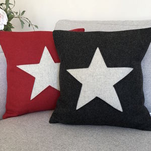 Christmas Star Wool Cushion - christmas decorations