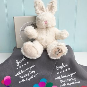 Naming Or Christening Day Bunny With Blanket - personalised