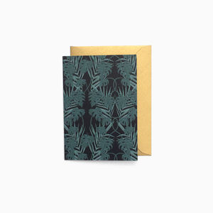 Dark Tropical Leaf Blank Mini Card