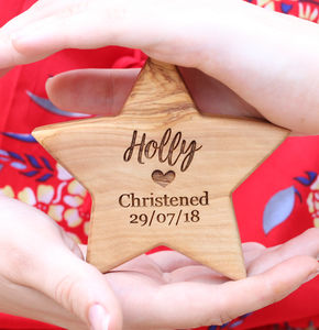 Personalised Olive Wood Christening Star - christening gifts