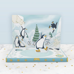 Penguin Adventures Christmas Music Box Card - cards
