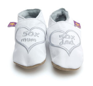 Unisex Soft Baby Shoes In White With 50%Mum And 50% Dad