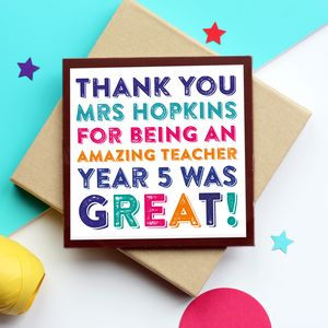 Personalised Teacher Chocolate Card - teacher cards