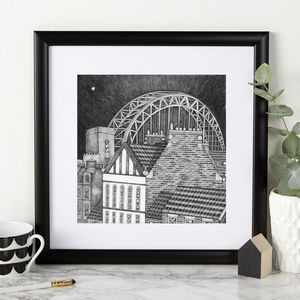 Tyne Bridge Illustration Print - architecture & buildings
